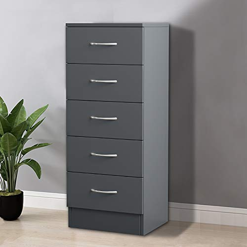 NRG Grey Tall Narrow Chest of 5 Drawers Storage Cabinets Unit for Bedroom Living Room Furniture 34.5x36x90cm