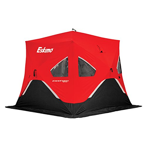 Eskimo FF949 FatFish Pop-up Portable Hub-Style Ice Shelter, Wide Bottom Design 61 sq ft. Fishable Area, 3-4 Person Non-Insulated , Red , 99' x 99'