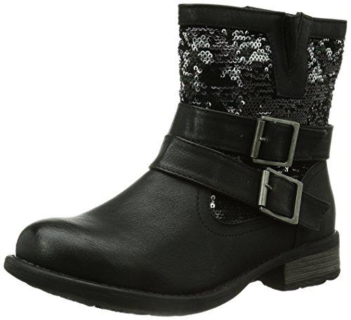 Rieker Damen 97263 Kurzschaft Stiefel, Schwarz (schwarz/schwarz-silber / 00), 39 EU