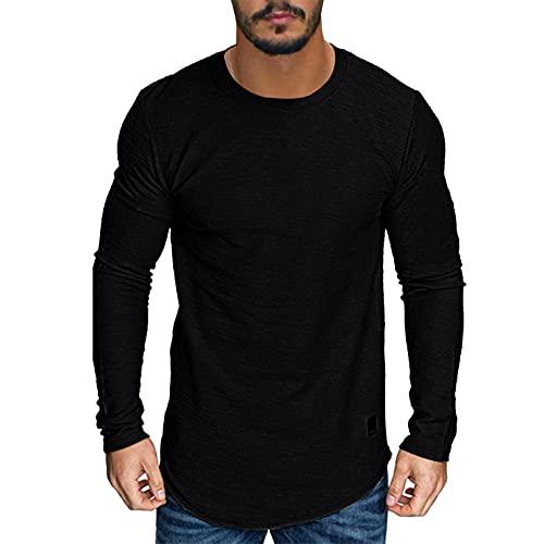Larga, Top de Manga Larga Hombre Tee Basicas Top Camiseta Negro/Caqui/Verde Camiseta para Hombre Primavera Otoño Invierno Hombres Camiseta Sólida Ajustado Algodón Crew Neck Camisetas S-XXL