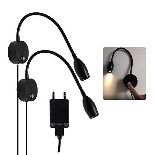 CPROSP 2PCS 40 cm LED-Leselampe Bettlampe mit Berührungsschalter Dimmbar Warmweiß 3000K 3W Wandlampe für Schlafzimmer Wohnzimmer Büro Schwarz