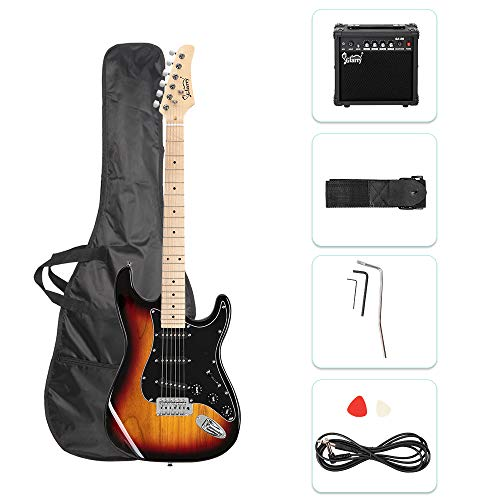 GLARRY Full Size Electric Guitar for Music Lover Beginner with 20W Amp and Accessories Pack Guitar Bag (Sunset)