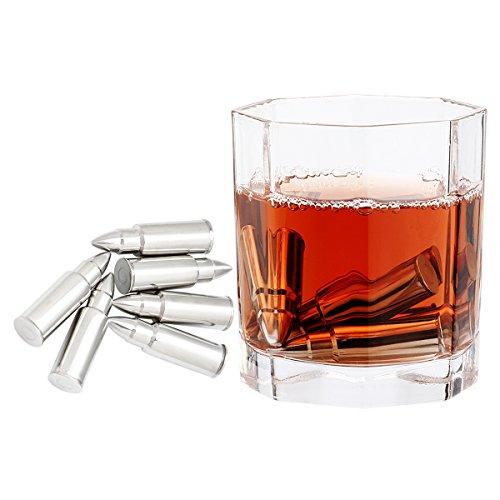 Grenhaven -Set de 6 Cubitos para Enfriar Piedras el Whisky, Acero Inoxidable Caja de Diseño, Enfriar el Whiskey Vino y te sin sobre-enfriarlo ni Diluirl Incl. Bolsa para Guardarlas