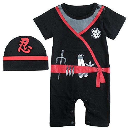 MOMBEBE COSLAND Baby Jungen Ninja Kostüm Strampler mit Hut (12-18 Monate, Ninja)