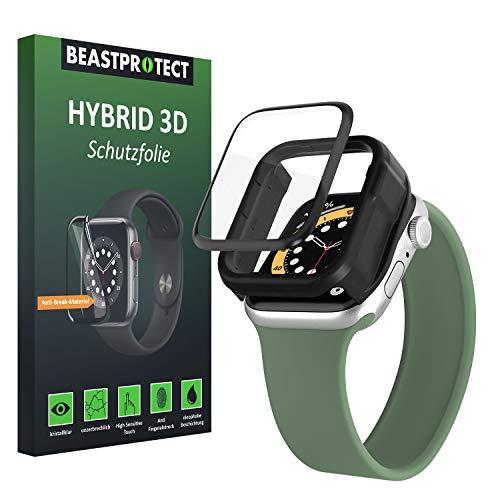 Beastprotect HYBRID 3D [Full Cover] Schutzfolie kompatibel mit Apple Watch 44 mm (Series 4/5/6/SE) [inkl.Aufbringhilfe] [100% blasenfrei] [hüllenfreundlich] unzerbrechlicher Displayschutz