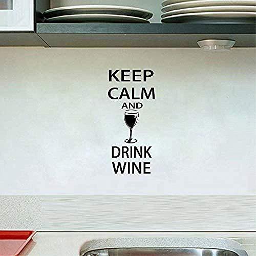Muursticker aftrekplaatjes bar muursticker - rust bewaren en wijn drinken - grappige bar Pub muurkunst decor 60X28Cm