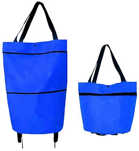 Extra Großer Kapazität Einkaufstrolley Klappbarer Einkaufswagen Shopping Bag mit Robuste Rädern,Handtasche mit Handgriff Einkaufstasche 600D Oxford Material (Blau, 46X41X13.5cm)