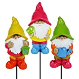 """Exhart Colorful Neon Gnome Garden Stakes (Set of 3) Hand Painted Garden Gnome w/Colorful Charming Character, Resin Yard Stakes Art Décor, Durable & UV Treated Gnomes Garden Decorations 3"""" W x 17"""" H"""