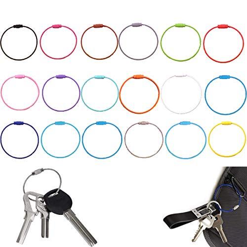 Dream HorseX Edelstahl Draht Schlüsselanhänger Stahldraht Farbe Stahl Schlüsselring, farbige Stahldraht Keychain Kabel Schlangenkette Schluesselring Spiraldraht (1.5 mm, 6.1 Zoll, 18 Stück)