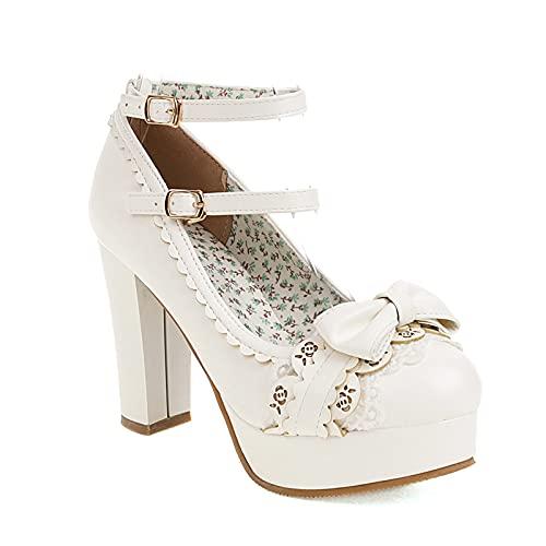 CYNLLIO Mary Jane - Zapatos de tacón grueso para mujer Kawaii Lolita con plataforma y hebilla de tobillo con encaje, 2 blanco, 41.5 EU