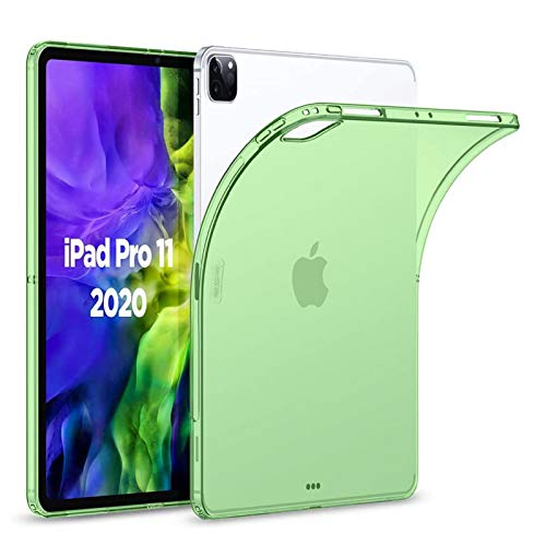 Jaorty Case Fit iPad Pro 11' 2018/2020, Crystal Clear Soft TPU Gel Case with Shock Absorption +【Apple Pencil Charging】 for Apple iPad Pro 11' 2018/2020 (Soft Green)