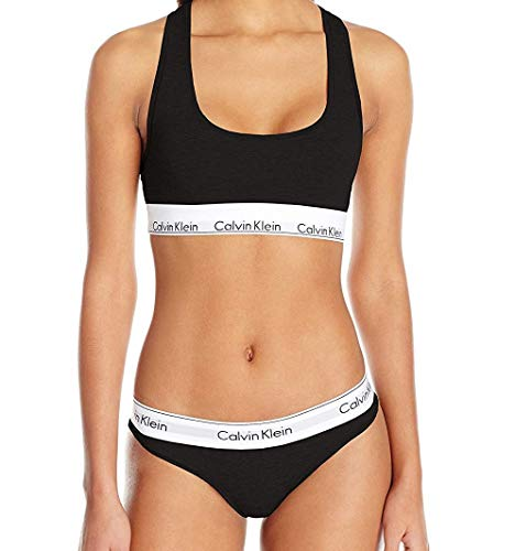 Calvin Klein Women's Modern Cotton Bralette and Bikini Set, Black, M