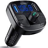 Clydek Bluetooth 5.0 FM Transmetteur, Kit Mains-Libres pour Voiture avec Port USB QC3.0, Adaptateur Audio pour Voiture Support pour Lecteur MP3 Carte U Disque TF avec lumière colorée