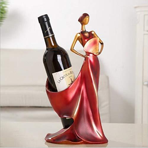 TZSHUQ Wijnrekken Handgemaakte Home Bar Keuken Accessoires Hars Schoonheid Meisje Model Wijnhouder Huisdecoratie Figuurtjes Miniaturen Ambacht Rood