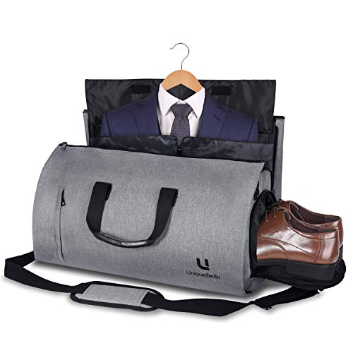 Carry on Garment Bag Large Duffel Bag Suit Travel Bag Weekend Bag Flight Bag with Shoe Pouch for Men Women (Grey1)