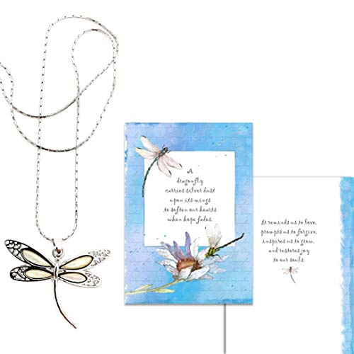 Smiling Wisdom - White Abalone Shell Dragonfly Gift Set - Restores Hope & Joy - Dragonflies Greeting Card - Her, Woman, Teen - Stainless Steel Cobra Chain - Silver & Opal Colored