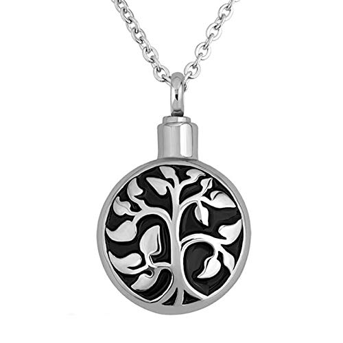 Ashes Necklace Unisex Stainless Memorial Cremation Ash Holder Urn Necklace For Ashes Life Tree Pendant