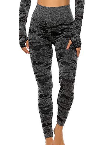 INSTINNCT Damen Yoga Lange Leggings Slim Fit Fitnesshose Sporthosen #1 Tarnmuster - Schwarz M