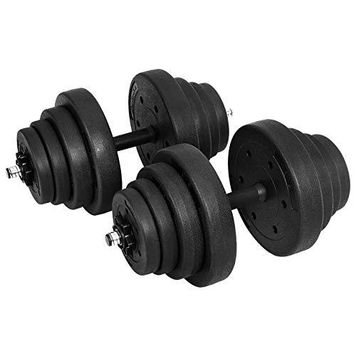 SONGMICS - Manubri Corti, Set da 2 Pezzi, per Un Totale di 40 kg, per Uomini e Donne, Fitness, Sollevamento Pesi per casa, Palestra, Nero, 50 x 26,5 x 26,5 cm