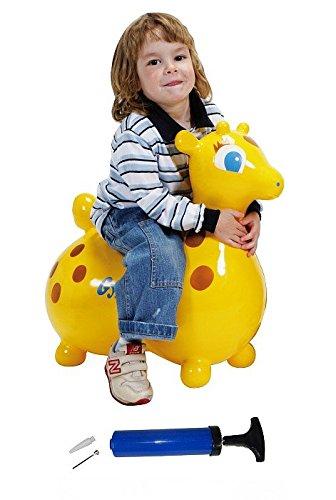Gyffy SET Giraffe - Caballo saltador con bomba, caballito saltador Cavallo Ledraplastic Gymnic