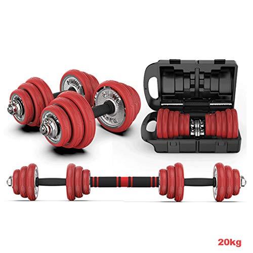 LH SHOP Hanteln, Hantel-Sets, solide Hanteln, 15kg-30kg, Fitnessgeräte, elektroplattiert Hanteln, Unisex (paarweise) (Color : Red Protective Sleeve, Size : 20 kg)