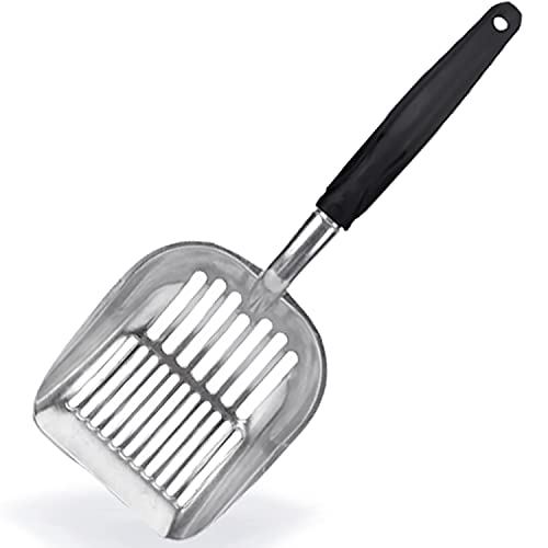 Moonshuttle Non-Stick Metal Cat Litter Scoop, Durable, Works with All Type of Cat Litter, Ergonomically Designed Handle