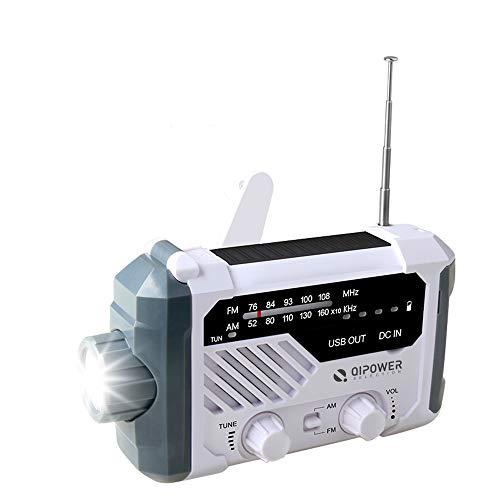 防災ラジオ 多機能 ラジオライト LED懐中電灯 ソーラー充電/USB充電/手回し発電 4つ給電式 AM/FM 非常用照明器具 SOS緊急警報 大容量2000mAh スマホ充電 緊急対策 地震 津波 台風 停電 防災対応