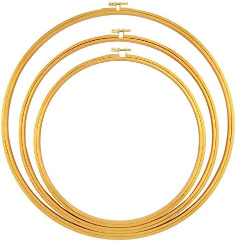 Caydo 3 Pieces Gold Large Embroidery Hoop Wooden Round Adjustable Bamboo Circle Cross Stitch product image