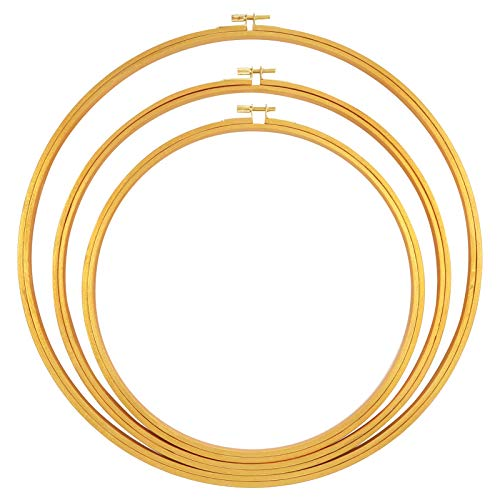 Caydo 3 Pieces Large Wooden Floral Hoop Wreath Macrame Gold Craft Hoop Rings for Dream Catcher, Embroidery Display, Wedding Decor, Wall Hanging Crafts (10 inch, 12 inch, 14 inch)