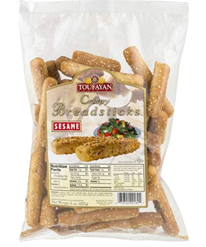 Toufayan: Crispy Bread sticks | Sesame| Freshly baked|Crunchy and delicious| 227g|8oz.