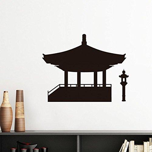 DIYthinker China-Pavillon Kultur Silhouette Illustration Muster Silhouette entfernbarer Wand-Aufkleber-Kunst-Abziehbilder Wand-DIY Tapete Für Zimmer Au 30Cm Weiss