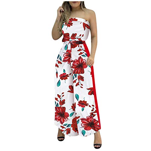 1111 Summer Casual Jumpsuit Womens Dungarees Fashion Rompers Sleeveless Boho Floral Baggy Overall Long Playsuit Trousers Pants Sexy Elegant Beachwear Daily Wear