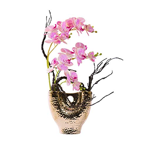 Flor de flores falsas Bonsai Flores artificiales de seda Flores artificiales de seda con jarrón Fallo de mariposa Orquídea Bonsai para oficina Muebles de sala de estar Artificial Bonsai Fake Plantas D