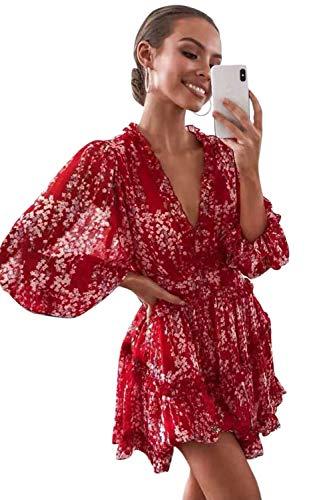 Damen Sommerkleid Böhmisch Kleider Puff Ärmel A-Linie Flora Minikleid Strandkleid Blumenkleid Redfloral M