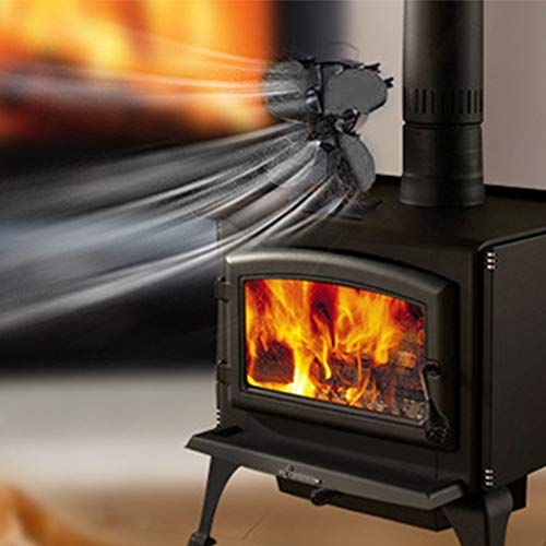 SHIJING Houtkachel zonder stroom, met 4 lamellen, milieuvriendelijke ventilator, rookvrije ventilator, haard voor thuis.