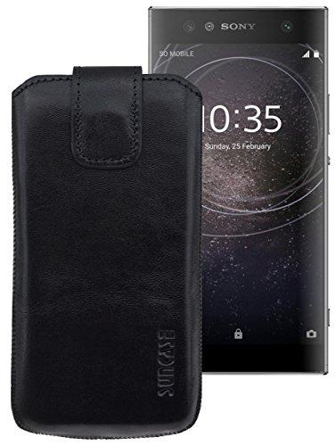 Suncase ECHT-LEDER Tasche Etui für Sony Xperia XA2 Ultra (mit Rückzugsfunktion, Magnetverschluss) schwarz