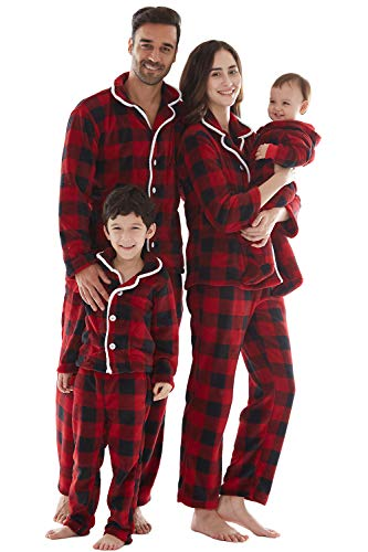 Pijama Hombre Mujer 2 Piezas, Tejido Franela Polar Suave y cómodo para Toda la Familia, excelente para Invierno