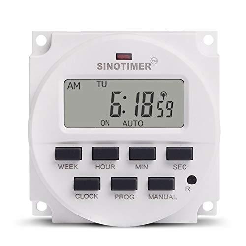 Licini SINOTIMER 12V Semanal 7 días Interruptor de tiempo programable digital Control de temporizador de relé para electrodomésticos 8 Configuración de encendido/apagado