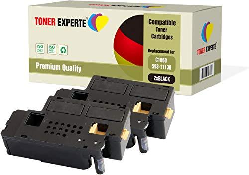 2-Pack TONER EXPERTE Compatible with 593-11130 Black Premium Toner Cartridges for Dell C1660, C1660W, C1660CN, C1660CNW