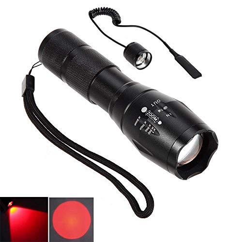 Linterna LED rojo rayo Cree zoom de enfoque ajustable de la antorcha para la caza táctico Senderismo (Reflector LED + del interruptor de presión alejado)