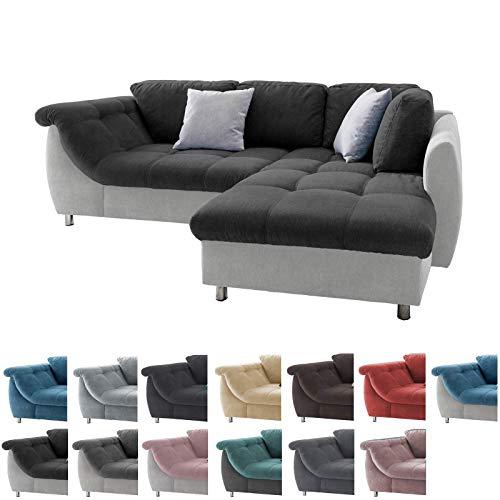 lifestyle4living Ecksofa in Schwarz und Hellgrau mit Schlaffunktion   Eckcouch Eckgarnitur Polsterecke Sofa   Moderne Wohnlandschaft mit Rückenkissen und Zierkissen