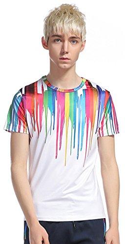 What Lees Mens Casual Fancy Streetwear Colorful Strips Print 3D Digital Graphic Printing T Shirt B056-27-M