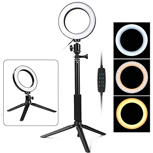 Thlevel LED-Ringlicht mit Stativstativ 6-Zoll-Dimmbare Ringlampe für Selfie, Make-up, Live-Stream, YouTube, Fotografie-Video-Shooting-USB-Stecker (Schwarz)