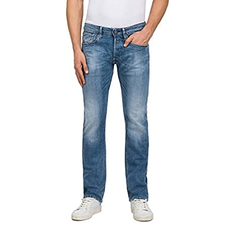 Replay Herren Newbill Straight Jeans Blau