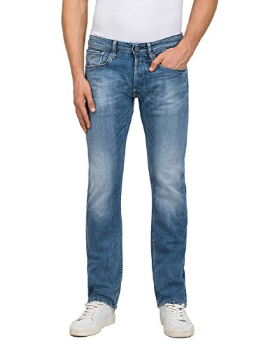 Replay Herren Newbill Straight Jeans, Blau (Mid Blue Denim 10), W31/L30
