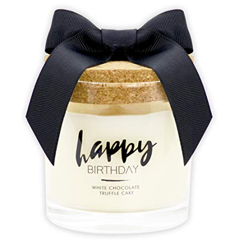 Urban Concepts by DECOCANDLES - Happy Birthday Candle - White Chocolate Truffle Cake - Highly Scented Soy Candle - Long Lasting - Hand Poured in USA , 6.7 Oz. w/ Cork lid)