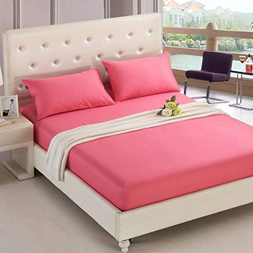 TIANCI Pure 24 Colors Solid Fitted Bedsheet Cotton Polyester Fitted Sheet Pure Colored Fitted Bed Sheets,CL001-09,90X200X20CM