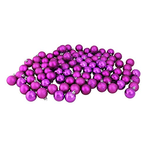 Northlight 96ct Magenta Pink Shatterproof 4-Finish Christmas Ball Ornaments 1.5″