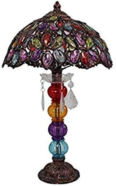 Dekorative Schreibtischlampe, Schlafzimmer Nachttischlampe Handgefertigte Lichter Tischlampen Kreatives Eisenplexiglas   E14   Amerikanisches Dorf