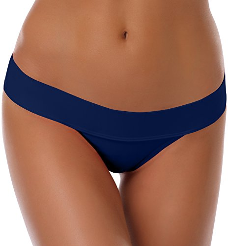 SHEKINI Damen Brazilian Klassische Bikinihose Perfect Match Thong Badeanzug Sexy Bademode (L, Tiefes Blau)
